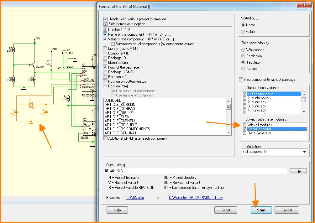 Bill of Material BOM - TARGET 3001! PCB Design Freeware is a ...