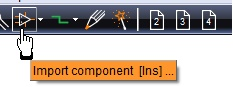 "Open the componet browser by the icon: ""import component"""
