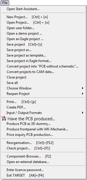 Menu File - TARGET 3001! PCB Design Freeware is a Layout CAD