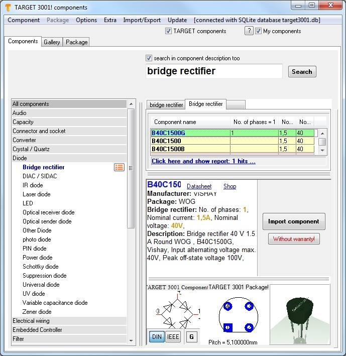 Component database - TARGET 3001! PCB Design Freeware is a Layout ...