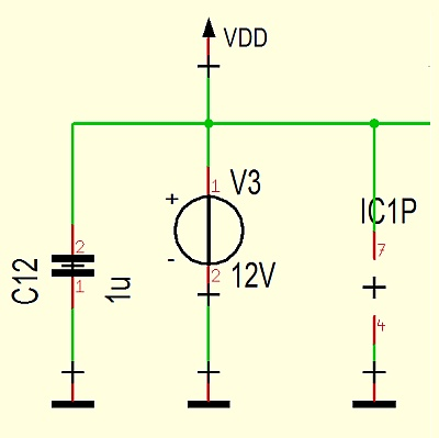Use of a virtual voltage source in the schematic only for simulation reasons