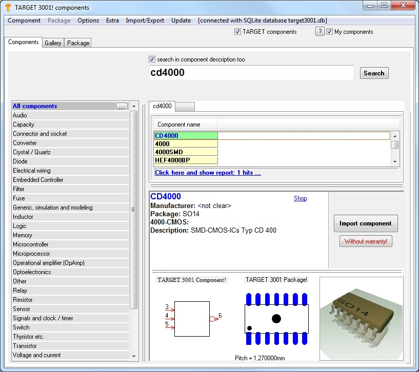 Component - TARGET 3001! PCB Design Freeware is a Layout CAD