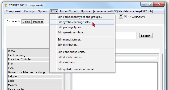 This image shows how to edit, rename, delete ... a component list